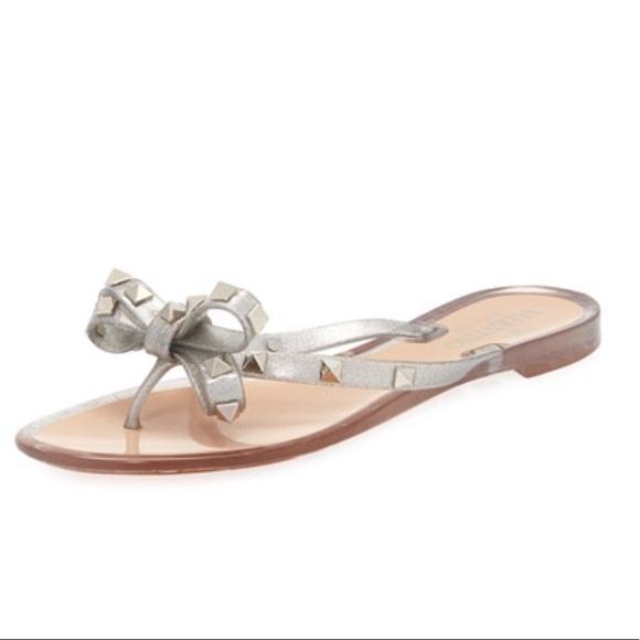 ec617022932 Valentino Garavani Rockstud Metallic Jelly Sandals.  M 5b42529d3c98444a6b3109f1